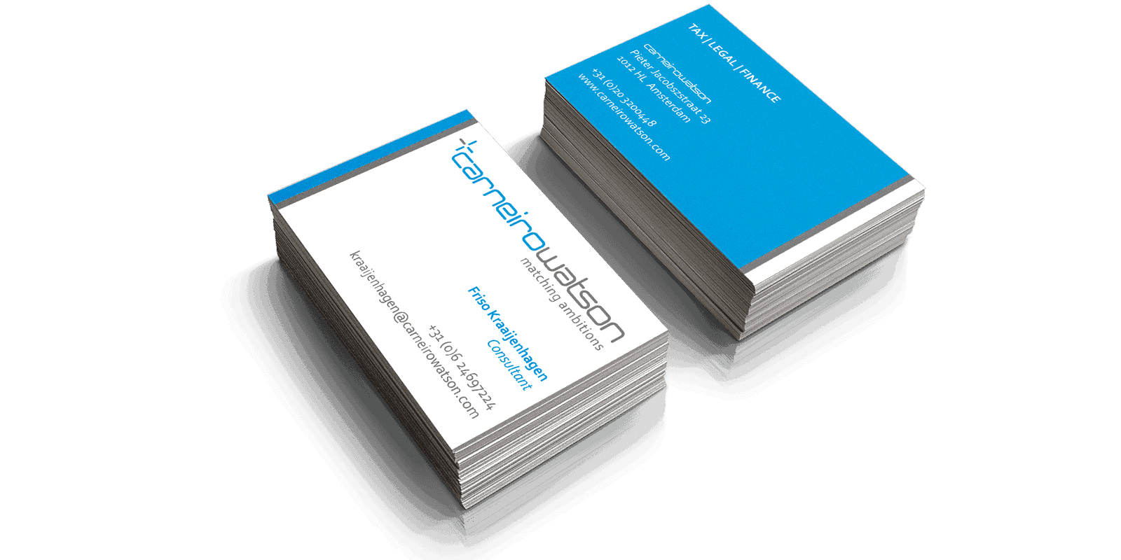 Business Card design for Carneiro Watson, as part of a total Corporate Identity Design