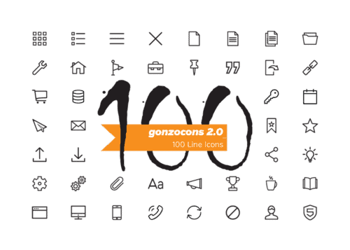 100 line icons for free - gonzocons