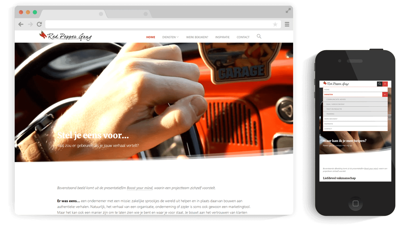 Project Photo Responsive WordPress website for Redpeppergang