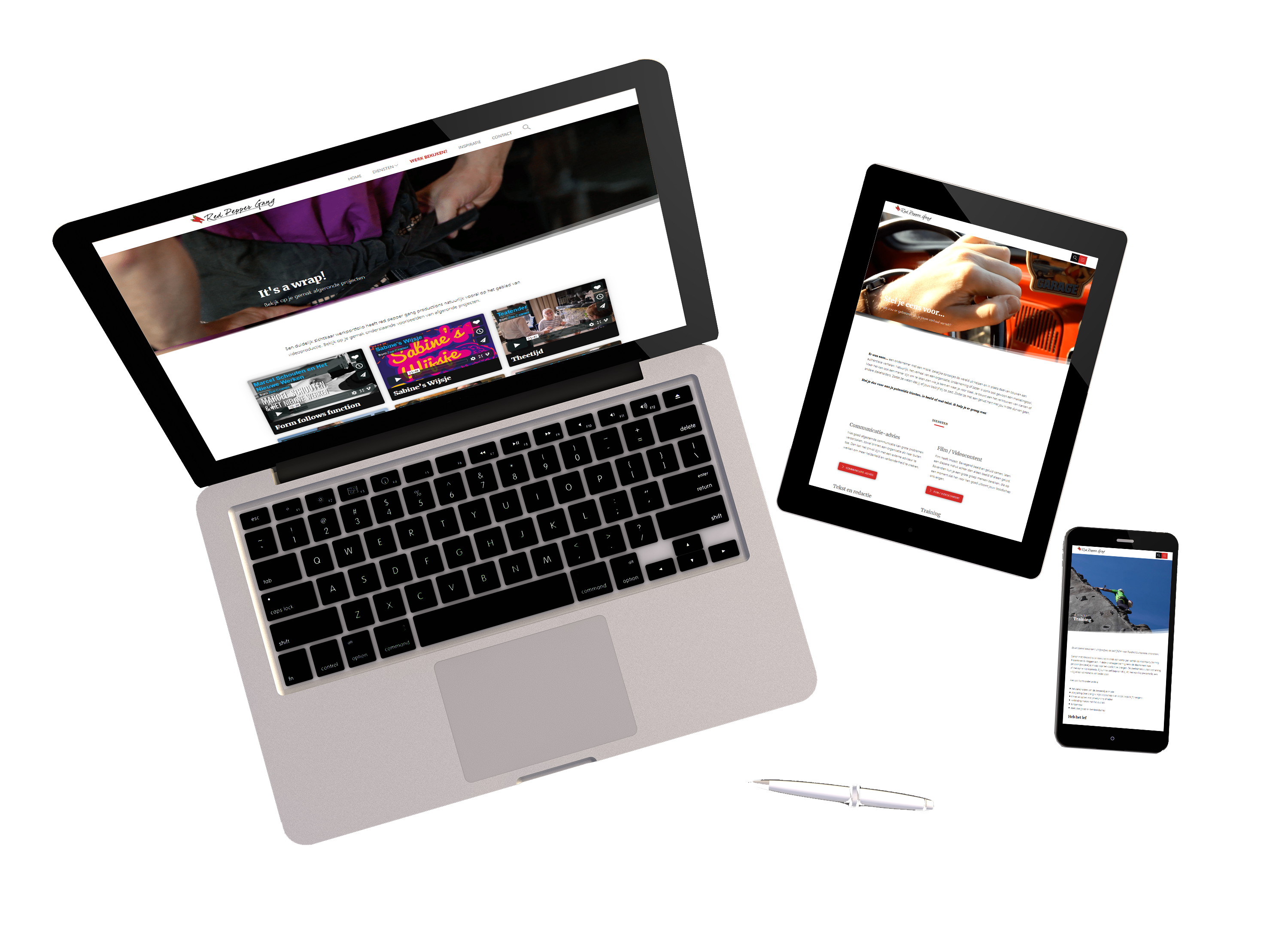 The responsive WordPress theme for Red Pepper Gang shown on 3 Apple devices (iPhone, iPad and MacBook)